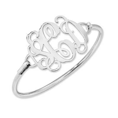 Monogram Bangle Bracelet in Sterling Silver (3 Initials) - Personalized Bracelets - Shared - Zales