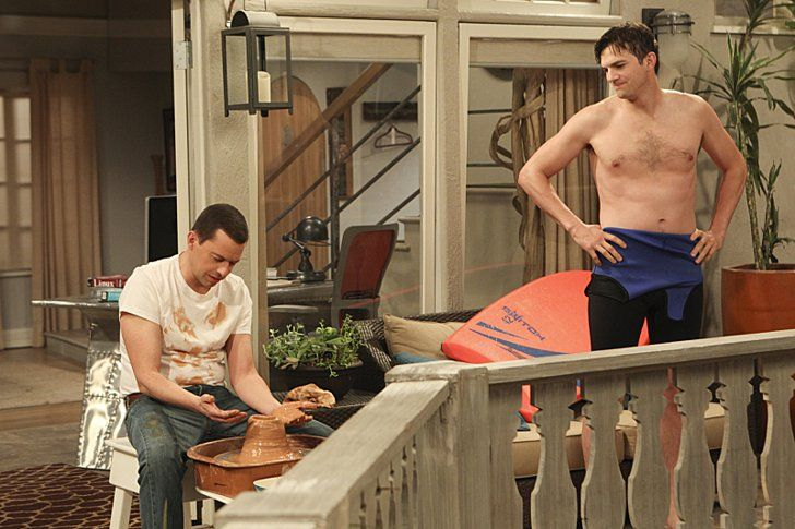 Pin for Later: The Best Shirtless Moments From TV This Year Two and a Half Men Walden (Ashton Kutcher) relaxes outside. We approve.