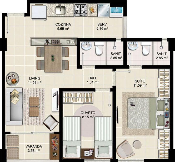 Resultado de imagem para Planta apartamento 50m² 2 quartos e 2 banheiros