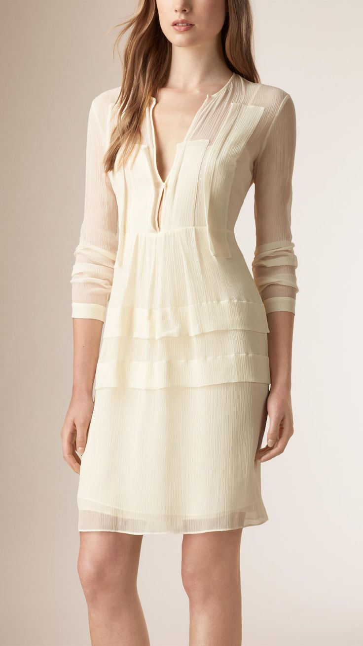 BURBERRY | Silk crepe dress with panel detailing.