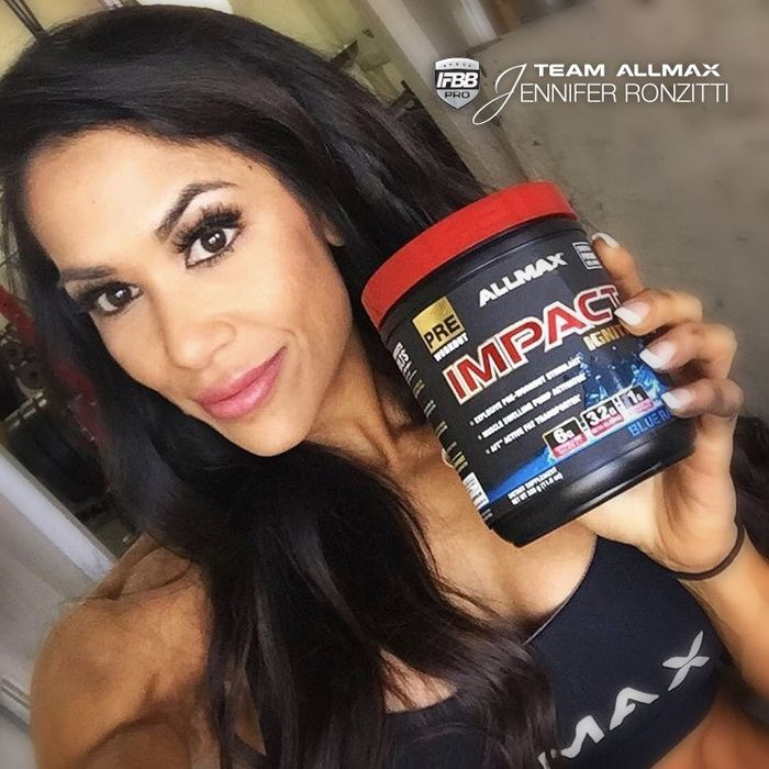 #IMPACTIgniter our newest PRE is #TeamALLMAX athlete & #IFBB bikini pro @jenronfit must-have before every gym sesh! What can you expect once it kicks in? -Extreme motivation to train with INTENSITY -Increase in strength, reps, and recovery -Muscle swelling pump activation you will FEEL -Amplified metabolism to incinerate fat while you train The best part of this pre is it works better the longer you use it, and zero crash!