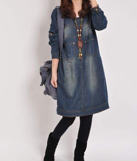 Denim dress Denim shirt maxi dress long sleeve by PerfectChlothing, $59.50