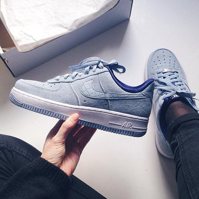 Nike Air Force 1 25th Low Black Blue Priting Mens Running Trainers Shoes