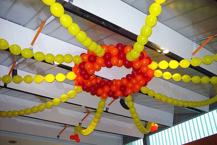 Sun balloon structure pinterest for Balloon decoration for ceiling