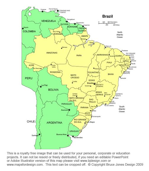 brazil map capital braslia south american country bordered by