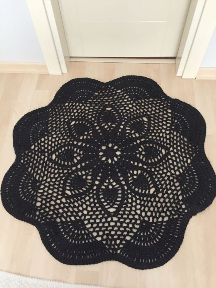 Cotton Crochet Doily Rug 112 Cm いい Temporary Storage