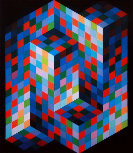 Victor Vasarely (1906 – 1997). Rodným jménem Vásárhelyi Győző. Maďarsko-francouzský umělec, malíř a sochař spojený s uměleckým směrem op-art (jeho práce nazvaná Zebra ze třicátých let je považováno za nejranější ukázku tohoto směru). roku 1930. V padesátých letech si vyvinul svůj vlastní styl malby – geometrické, abstraktní umění založené na práci s optickými jevy (odtud op-art).