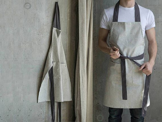 Kitchen apron Linen apron Full apron Apron dress Apron for man Hemp clothing Embroidered apron Custom apron Gray apron Apron for work