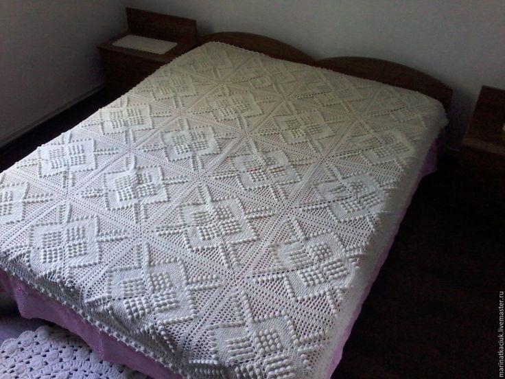 Купить Покрывало-плед. - белый, покрывало в спальню, покрывало на кровать, плед вязаный, плед крючком