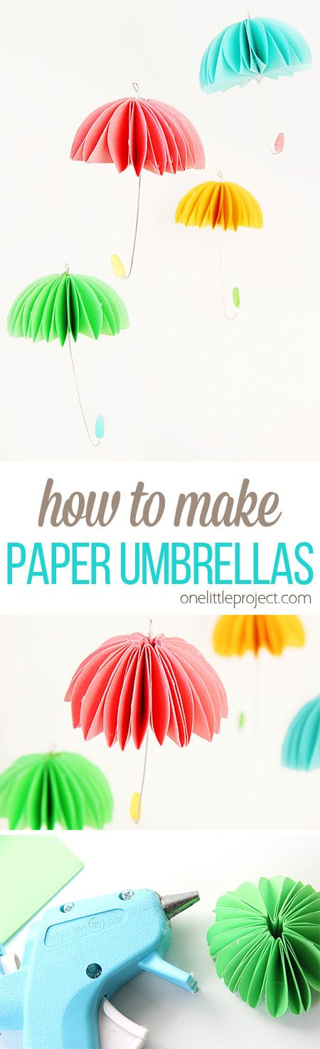 These paper umbrellas are so SIMPLE to make and they look adorable! Hang them in a window, on a baby mobile, or even on a wreath! Such a fun spring craft idea!