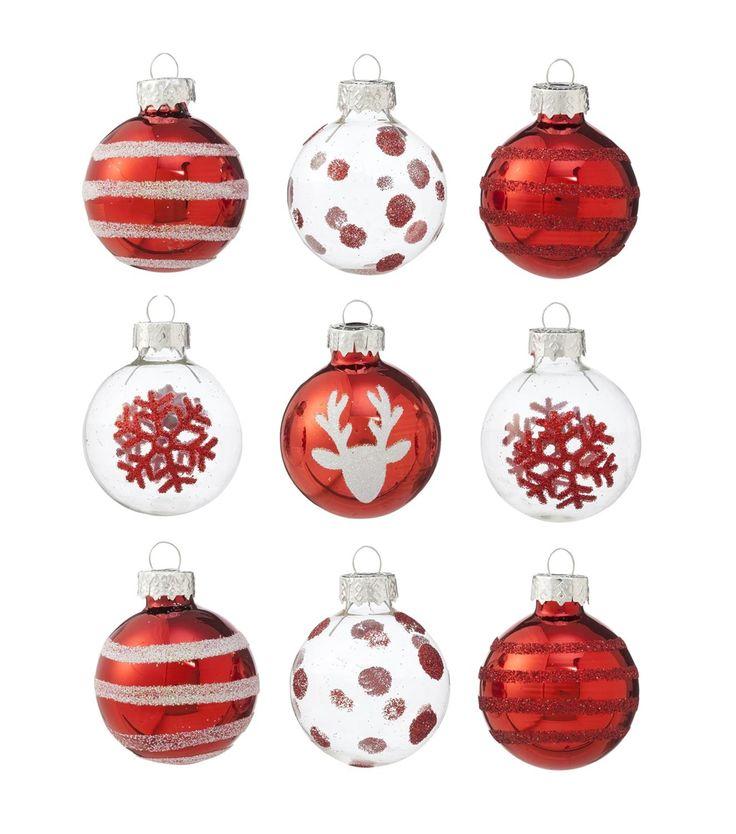 9er-Pack Weihnachtskugeln, Glas