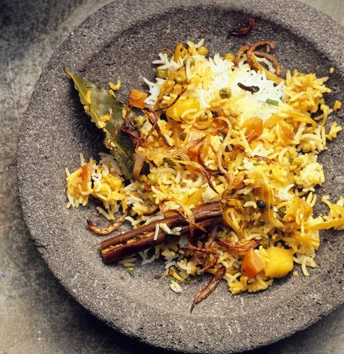 Vegetable Biryani (Subzi Biryani) is a great way to enjoy vegetables and eat those that are in season. Enjoy with any curry or condiment, hot or cold. This great recipe is from Curry:Fragrant Dishes from India, Thailand, Vietnam and Indonesia.