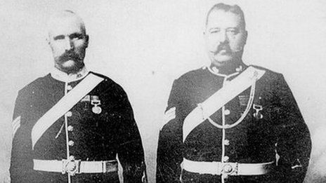 Pte John Williams (left), with Pte Alfred H Hook - both were awarded Victoria Crosses for their defense of a hospital at Rorke's Drift.  With the Zulus breaking down the door to get in, he knocked a hole through the wall into an adjacent ward, where he met up with a Private Alfred Hook.  Between them, Williams and Hook held the Zulu advance at bay for a further hour, while smashing holes through another three walls to evacuate 8 patients to the protection of the garrison's inner defensive…