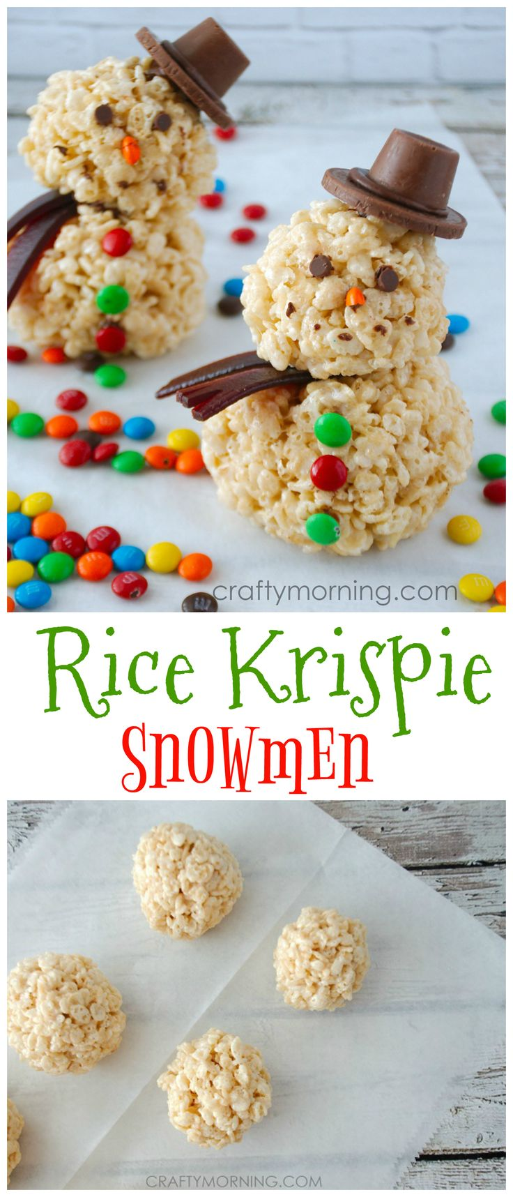 Love these rice krispie snowmen treats for Christmas!! So easy to make with the kids.