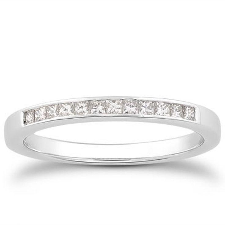 Great K White Gold Channel Set Princess Diamond Wedding Ring Band