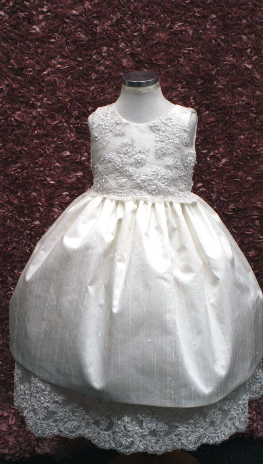 Dress for reception. Elegant Ivory Cristening Silk And Alecon by ElenaCollectionUSA, $85.00