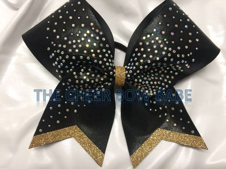 Black & Gold Competition Cheer Bow, Rhinestones, Team, Competitive, Softball, Color Guard, Team Cheer Gifts, Cheerleader Gift, Cheer Bows by TheCheerBowBabe on Etsy