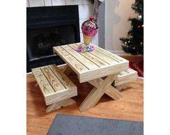 conjunto mesa e bancos infantil madeira