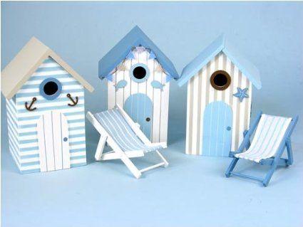BIRD HOUSES/NESTING BOXES, Beach Hut Design,22x15x13cm. A set of 3.: Amazon.co.uk: Pet Supplies