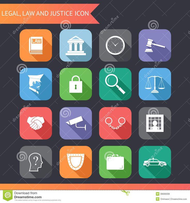 Justicia Legal Icons De La Ley Plana Y Ejemplo Del Vector De Los Símbolos Ilustración del Vector - Imagen: 39690008