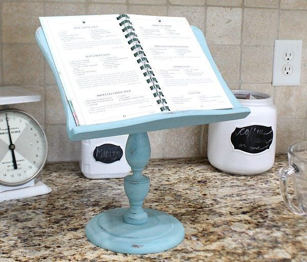 Thrift store makeover idea. Great for holding recipe books and iPad from http://refreshrestyle.com