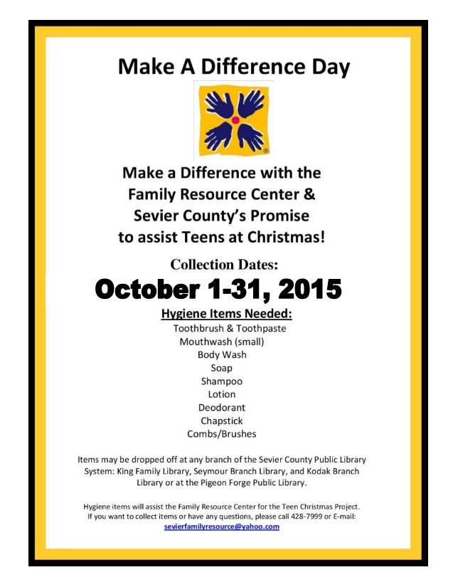 Make a Difference Day Fine Waive Drive for Teens at Christmas