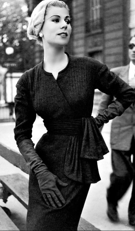 Stella in a Jacques Fath dress, Paris, 1955.