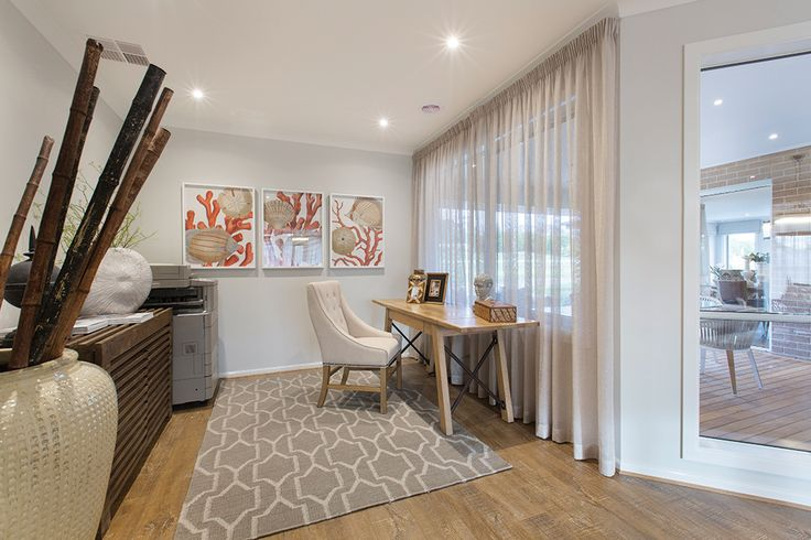 Open plan study with a Classic Hamptons World of Style.
