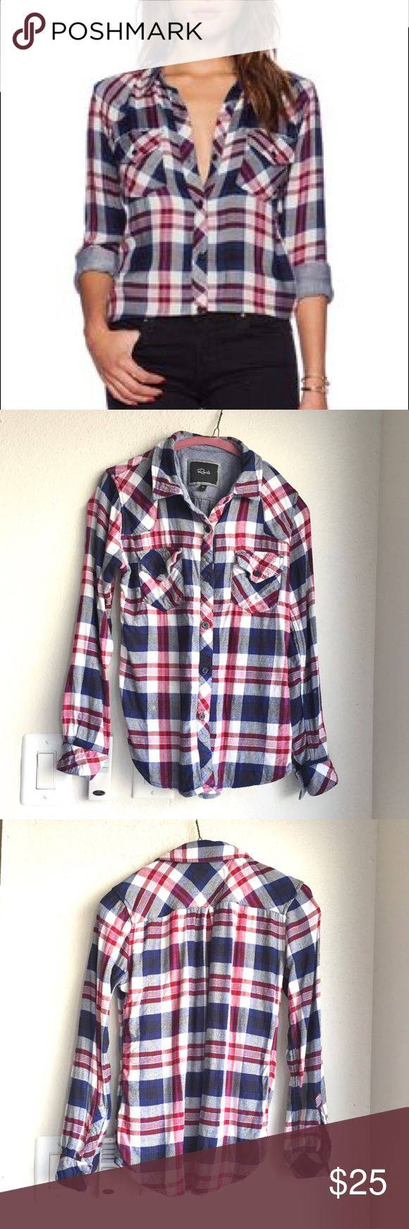 """🆕Rails Kendra Plaid Button Down Authentic Rails Kendra style flannel. Button down front, button pockets at chest. Colors are navy, red and white. Overall good condition, one small spot (photo 4) and a few tiny puckers that aren't noticeable when wearing. Priced to reflect condition and is firm. Size XS, approx 16.5"""" across bust, 24"""" long. ❌No trades❌Price firm unless bundled. Rails Tops Button Down Shirts"""