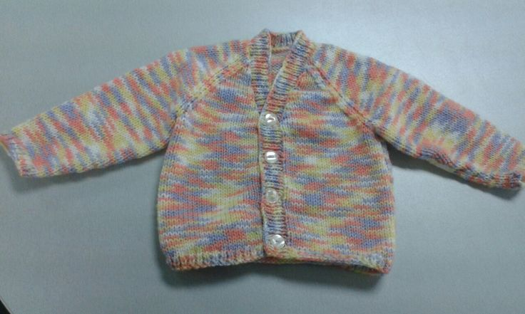 Sirdar Baby Vintage by Snuggly 434. Design 1419 without the pattern as the yarn is so coloured. Sweet little cardi for Little Sprouts