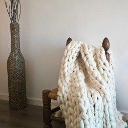 Manta de lana merina punto gigante! Súper chunky xxl