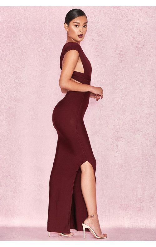 32500f8a57a Clothing   Max Dresses    Alissa  Plum Plunge Neck Bandage Maxi Dress