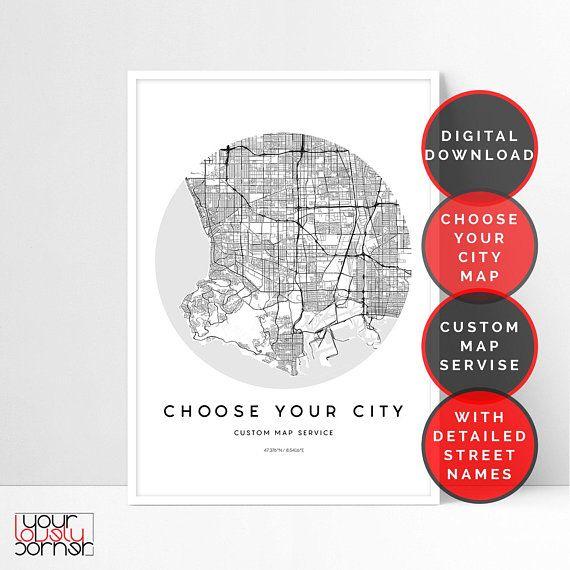 custom city map custom map print