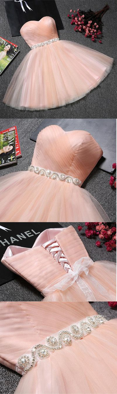 Strapless Sweetheart Neck Homecoming Dresses, Pink Tulle Short Prom Dresses with Sash, Women Party Dresses,Sexy Short Prom Dresses, Eveining Dress, Summer Dresses for Girls