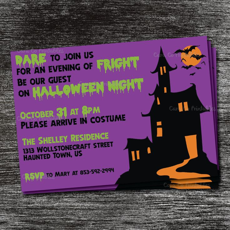 Halloween Costume Party Invitation, Printable File, 5x7 Invitation, Print at Home, Haunted House with Bats and Green Spooky Font with Purple by CaraCoPrintables on Etsy