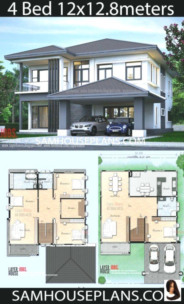 12x128 Hausplane House Design Plans Simple Idea Mit Schlafzimmern House Plans Idea 12x12 8 M With 4 Bedrooms Haus Plane Haus Design Plane Haus Grundriss