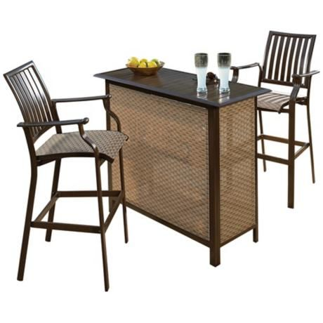 Panama Jack Island Breeze 3 Piece Outdoor Patio Bar Set