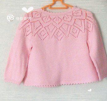 Кофточка с ажурной кокеткой   Вязание для девочек   Вязание спицами и крючком. Схемы вязания.