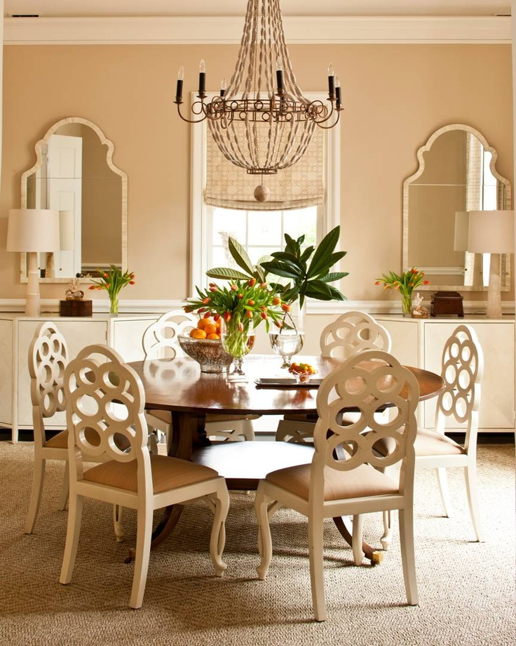 Love the matching mirrors: Mirror, Dining Rooms, Dining Area, Southern Living, Dining Table, Decorating Ideas, Room Ideas, Round Tables