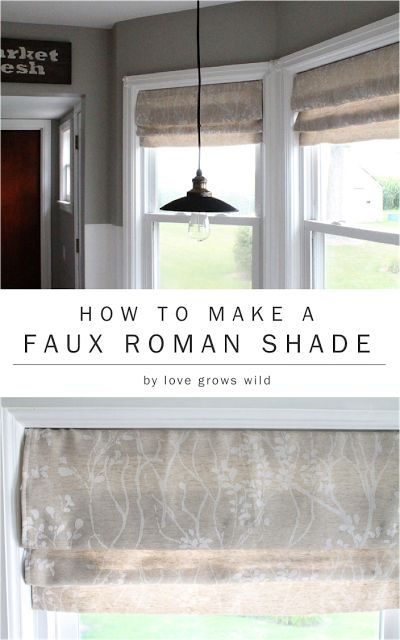 How to Make a Faux Roman Shade by LoveGrowsWild.com | Get the gorgeous look of roman shades without the price! #diy #romanshade #curtain
