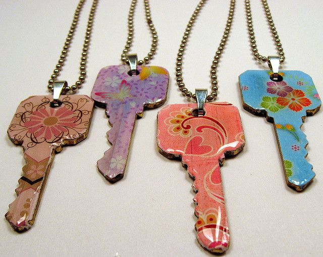 Upcycled recycled key pendants wonder if keys come in for Art made with keys