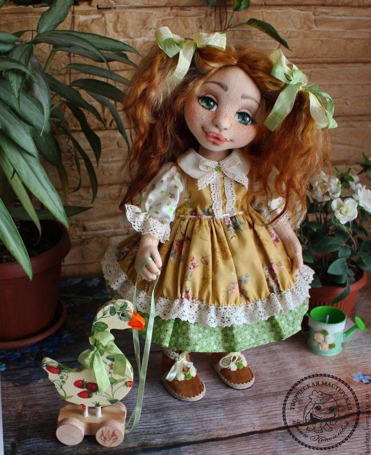 Купить Кукла Дуняша текстильная интерьерная с объемным личиком - подарок девушке, подарок коллеге, салатовый