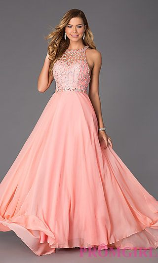 Floor Length Gown with Illusion Bodice by Rachel Allan at PromGirl.com. This gown is also a standout! I prefer it in royal blue because it is a bold color that will totally pop on stage!
