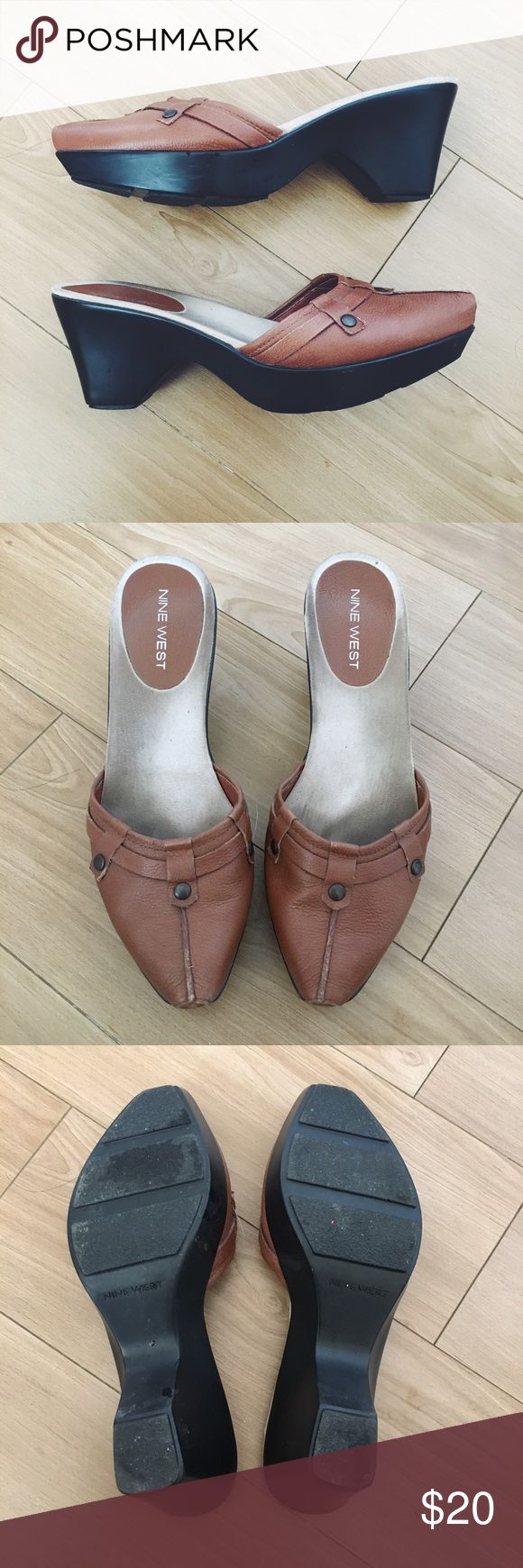 Nine West Brown Leather Mules Cute brown leather mules or clogs with button detail. Super comfortable, gently worn. Style is Tennile. Nine West Shoes Mules & Clogs