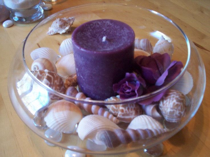 Purple beach theme wedding center piece... i wonder how it would look with blue...