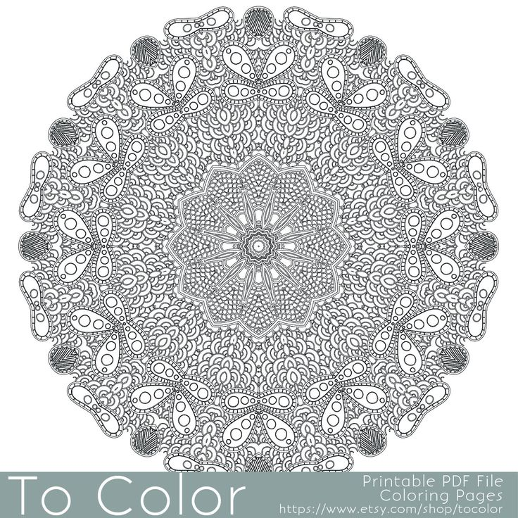 Intricate Printable Coloring Pages For Adults Gel Pens Mandala Pattern PDF JPG Instant