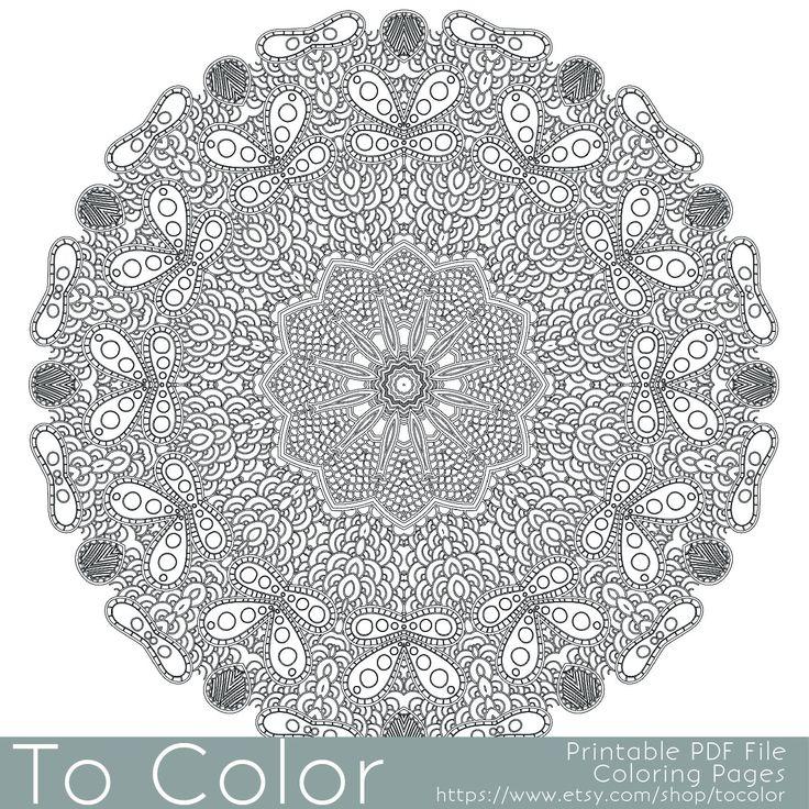 intricate printable coloring pages for adults gel pens mandala pattern pdf jpg instant. Black Bedroom Furniture Sets. Home Design Ideas