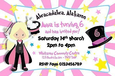 #Girls personalised magician magic trick birthday #party #invitations x 10, View more on the LINK: http://www.zeppy.io/product/gb/2/311617214095/