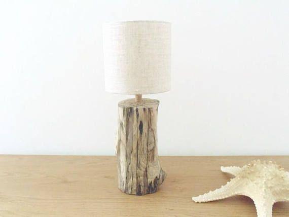 Lampe Bois Flotte Abat Jour Rond Lin 13cm Nature Zen Lampbois