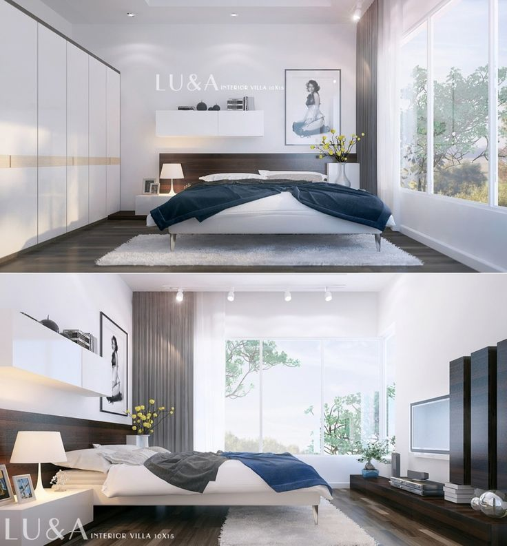 Bedroom:Cute And Simple Modern Bed With White Cushions Coverbeds Also Beddings And Lamps On Vanity Also Flowers In A Vase Also Wooden Vanity And Curtains Also Painting And Smooth Lighting And Laminate Floor Some Ideas of Modern Bedroom Design to Inspire You